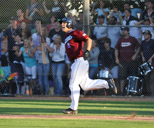 Simon Guehring reacts after Homerun