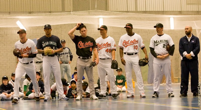 Current and former Major Leaguers Rick Van den Hurk, Gregory Halman, Brady Anderson, Jeremy Guthrie, Adam Jones and John Baker