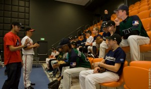 They are eager to listen to the stories of the MLB veterans
