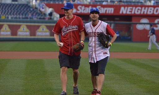 Swiss Player throws out Ceremonial First Pitch prior to Kansas City Royals Game
